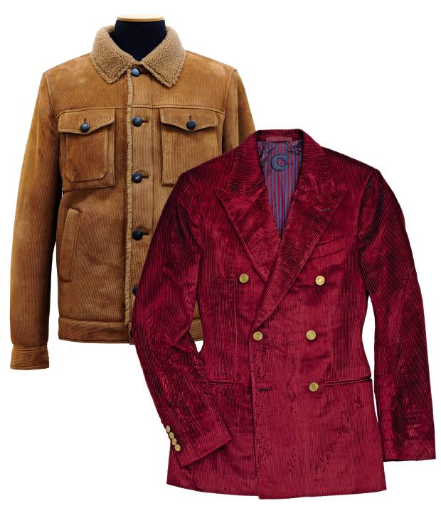 From left: Tod's shearling-leather cord jacket, £3,890. Caruso cotton/silk blazer, £1,655