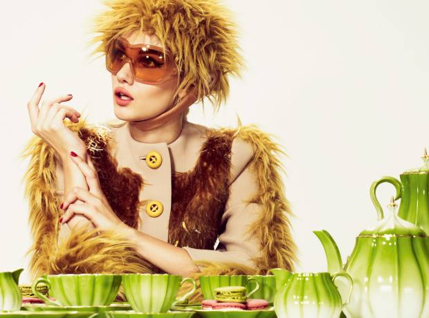 Wool coat with sequins and brushed mohair, £4,300, brushed mohair hat, £255, and sunglasses, from £220, all by Prada. Melon Tea Set (six teacups, saucers and side plates, plus teapot, milk jug and sugar pot), £2,000, and Melon Coffee Set (six coffee cups, saucers and side plates, plus coffee pot, milk jug and sugar pot), £1,895, both by Asprey. Macaroons, £1.60 each, by Ladurée. Asprey, 167 New Bond Street, London W1 (020-7493 6767; www.asprey.com). Harrods, 87-135 Brompton Road, London SW1 (020-7730 1234; www.harrods.com). Ladurée, 1 Market Place, Covent Garden, London WC2 (020-7240 0706; www.laduree.com) and branches and see Harrods. Prada, 16-18 Old Bond Street, London W1 (020-7647 5000; www.prada.com) and branch.