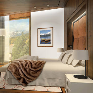 The master bedroom of an apartment at Grace St Moritz, from £735,000