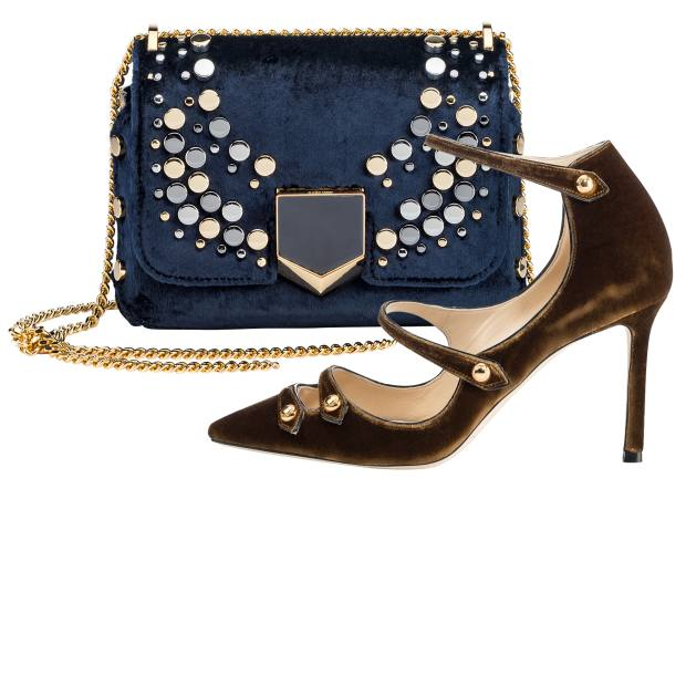 Jimmy Choo embellished velvet Lockett Petite bag, £1,295, and velvet Lacey stilettos, £575
