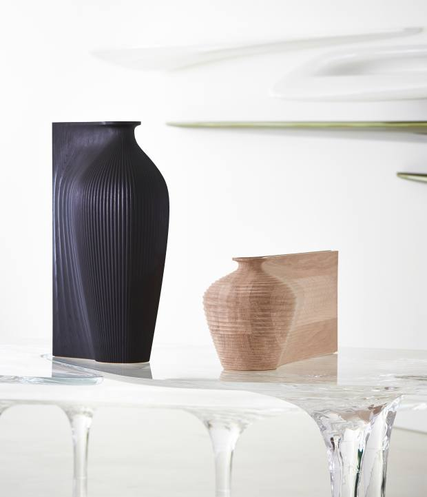 Neal's Ves-el project – a wooden water carafe designed in collaboration with Zaha Hadid