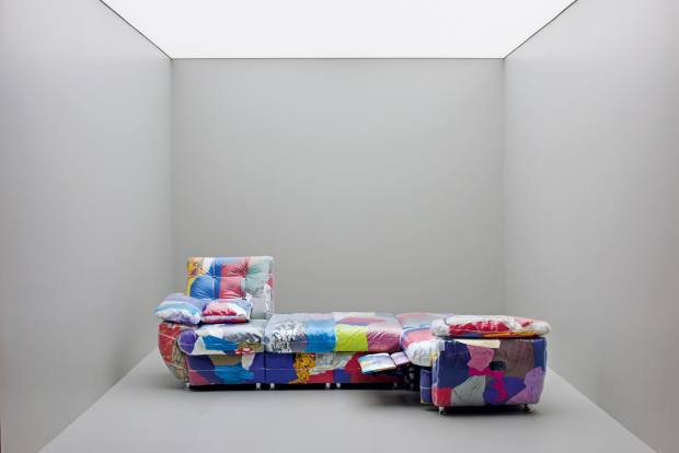 Nuriev's 2019collaboration with Balenciaga – a vinyl sofa filled with the fashion house's discarded garments