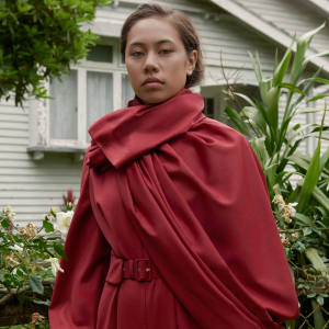New Zealand dancer Hope Crockett models a jumpsuit from Emilia Wickstead's Ordinary Yet Extraordinary Women collection