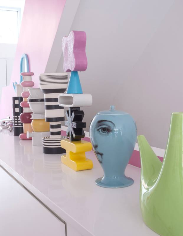 Rashid's collection of Ettore Sottsass vases and sculptures