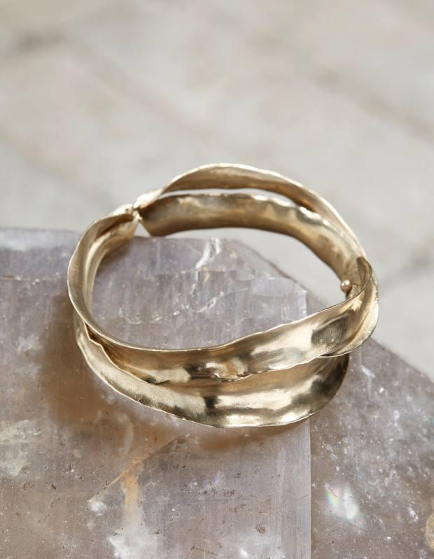 Gold grass-blade cuff bracelet, $5,655