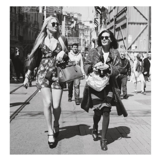 Women shopping in Beyoglu. Taken by the author using a Rolleicord