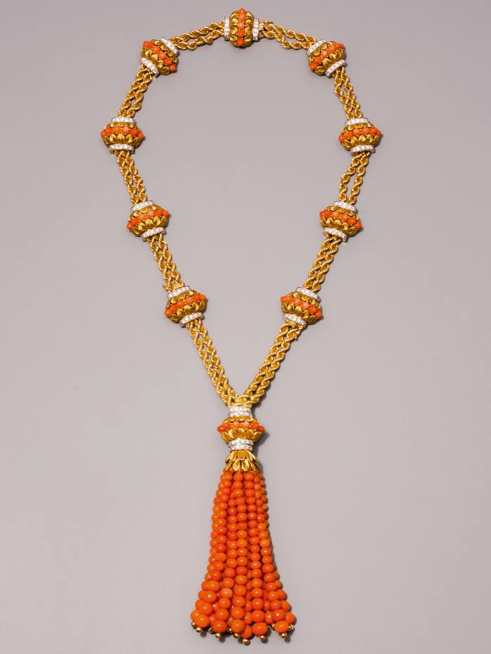 Late-1950s Fabergé gold, diamond and coral necklace, €150,000 from Epoque Fine Jewels