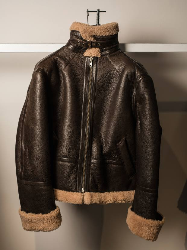 Shearling-lined, zippered bomber jacket, $4,590