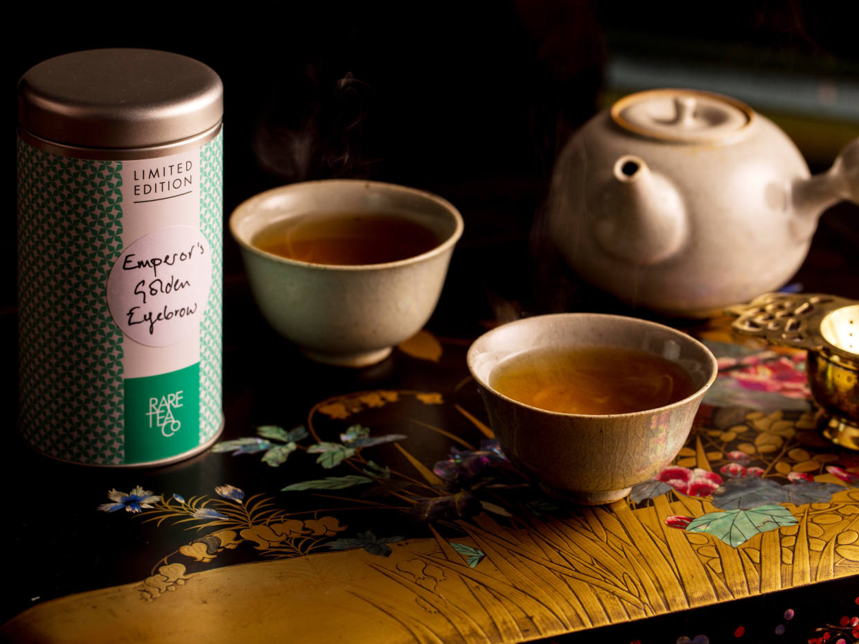 Emperor's Golden Eyebrow black tea with ceramic teapot and two tea bowls by Devon-based potter Jacob Bodilly