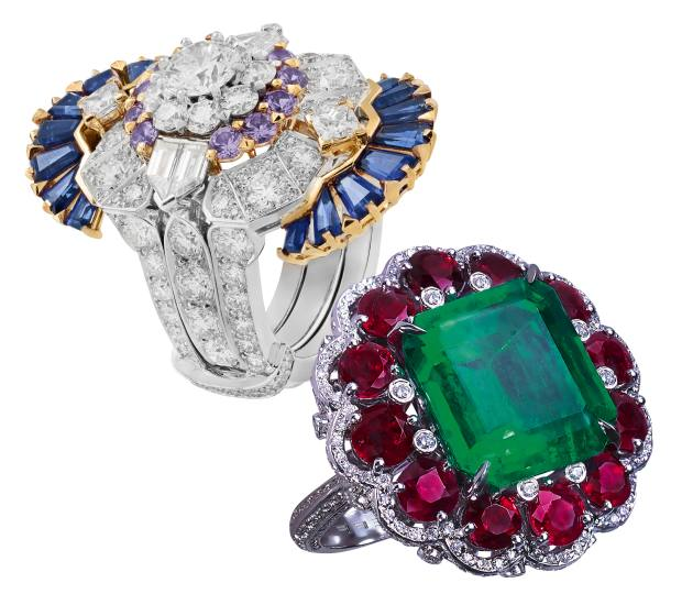 From top: Van Cleef & Arpels white gold, yellow gold, diamond and sapphire Séraphîta ring. Moussaieff white gold, diamond, emerald and ruby ring. Both price on request