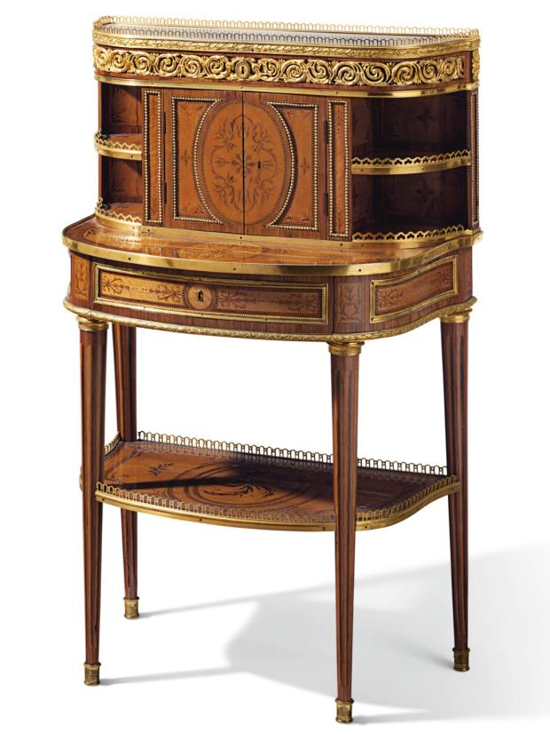Louis XV Bonheur du Jour writing table crafted in citronnier, tulipwood and amaranth by Roger Vandercruse, c1780, $60,000 to $100,000