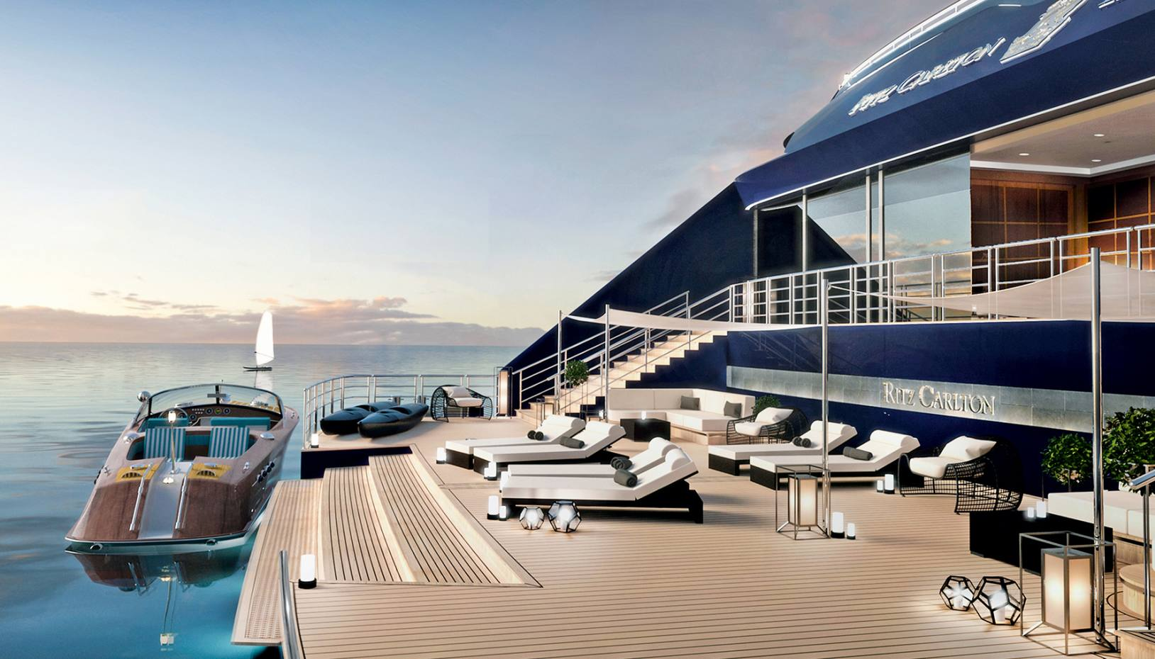 The first of The Ritz-Carlton Yacht Collection's cruisers will have a champagne lounge and a theatre