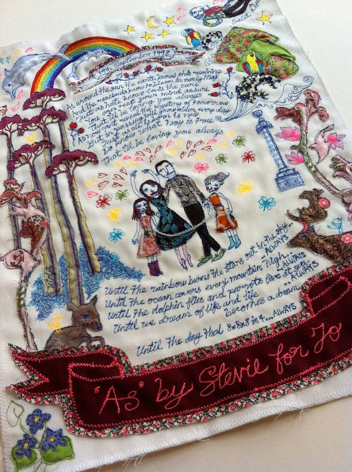 Clients of I Love Spoon tend to share images, quotes or lines from songs for their intricately appliquéd and embroidered love letters