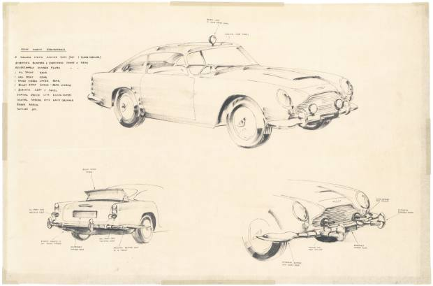 "Concept drawings for the recreation of the iconic car, including its special ""spy"" features"