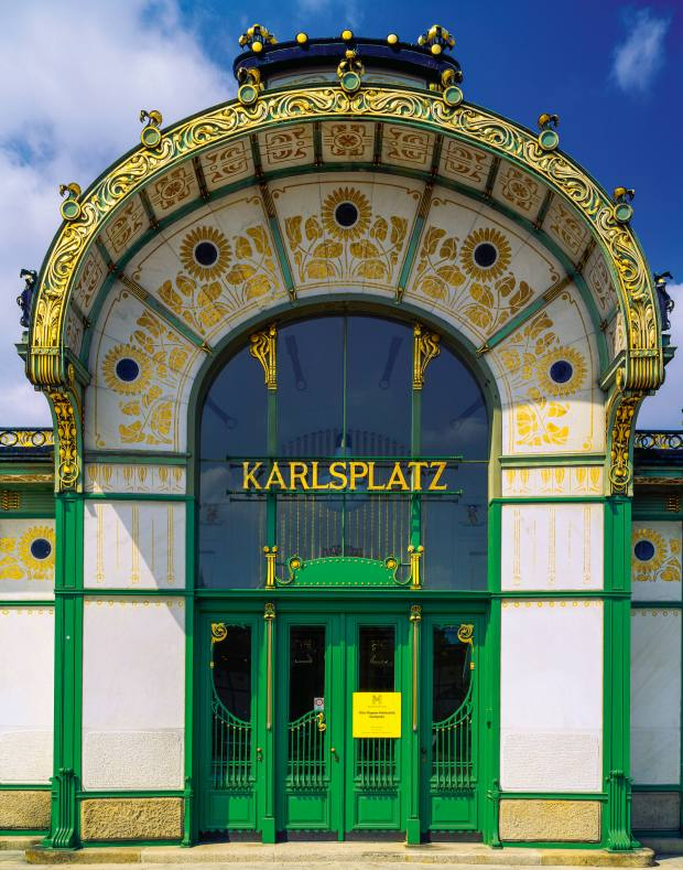 A former train station entrance designed by Otto Wagner