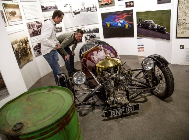 Inspecting a classic three-wheeler during a tour of the Morgan factory. Part of PistonHeads' Sunday Service events