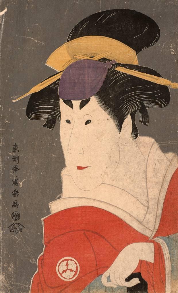 Oban tate-e, okubi-e, bust portrait of actor Osagawa Tsuneyo II playing the role of Ayame by Toshusai Sharaku, estimate €60,000-€80,000
