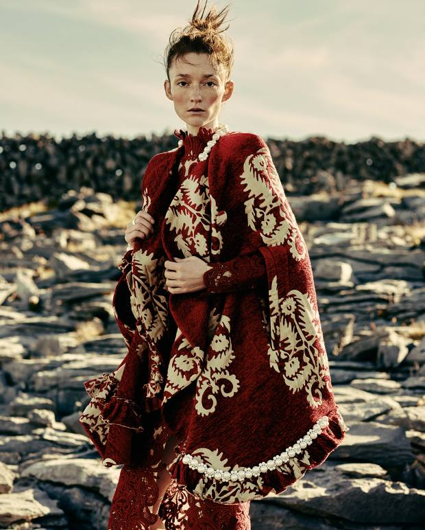 Simone Rocha cotton mix Baroque French tapestry cape with Japanese pearls, £1,900. Erdem guipure lace dress, £3,360. Wright & Teague silver Minoan ring, £175