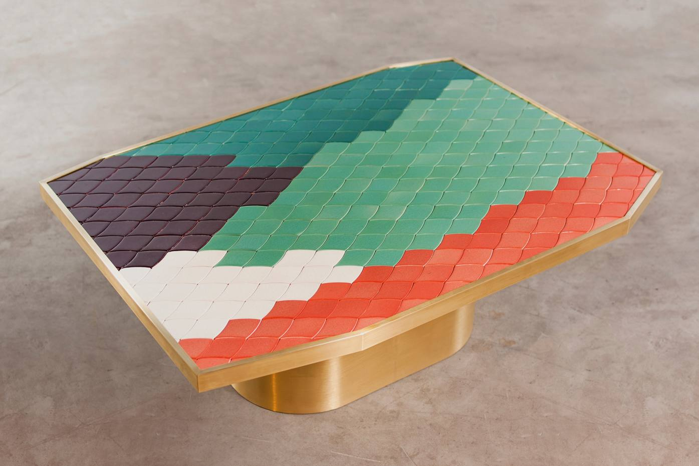 India Mahdavi ceramic mosaic and brass table, price on request