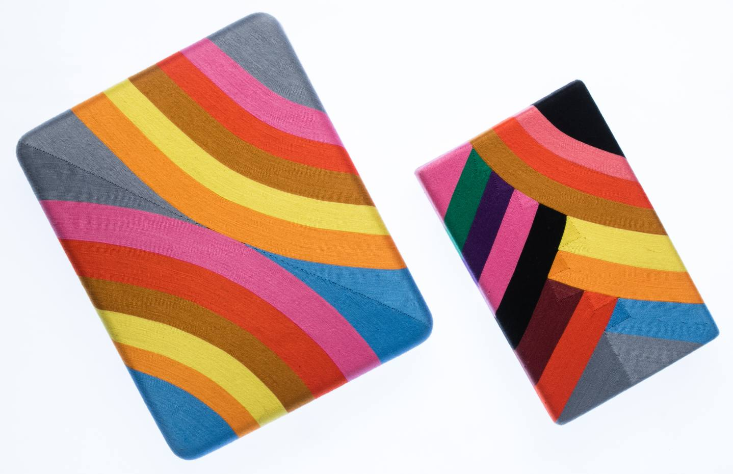 From left: Beatriz cotton Judith clutch, $300, and Marge clutch, $250