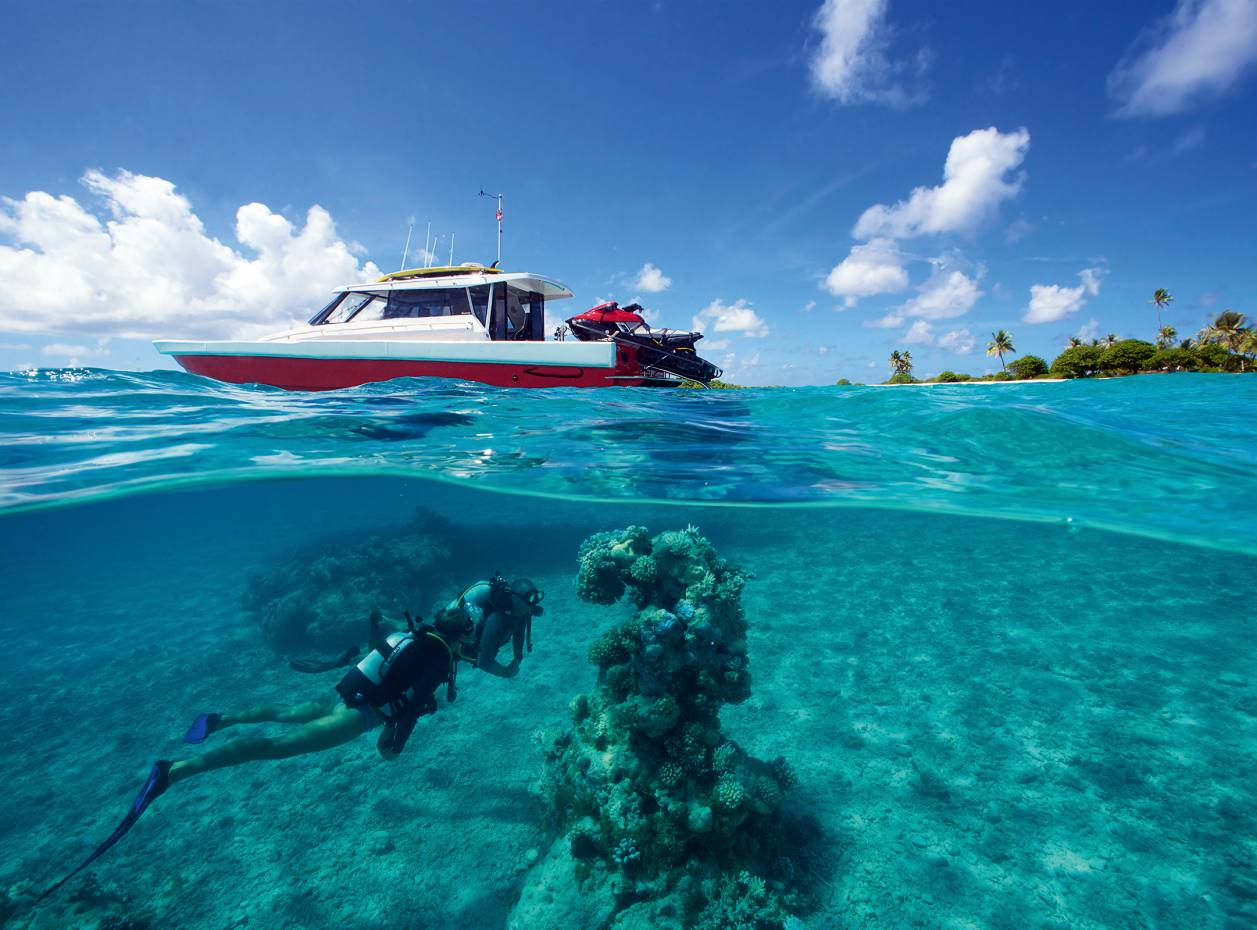 Diving off Fakarava atoll from Senses' 13m high-tech speedboat Catalyst