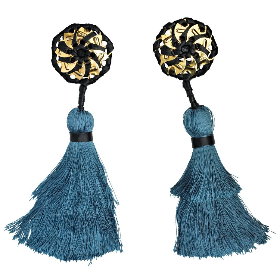 Dsquared2 leather, gold plate and cotton/silk Samurai earrings, £195