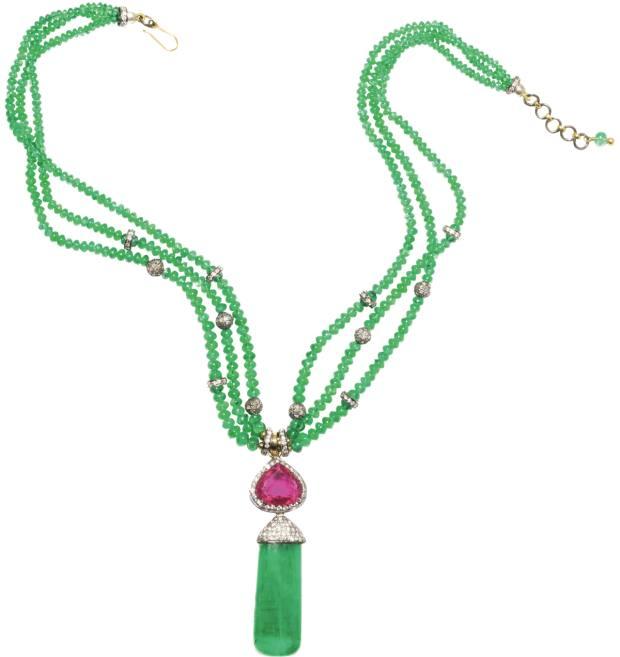 Amrapali diamond, emerald and tourmaline necklace, £32,480