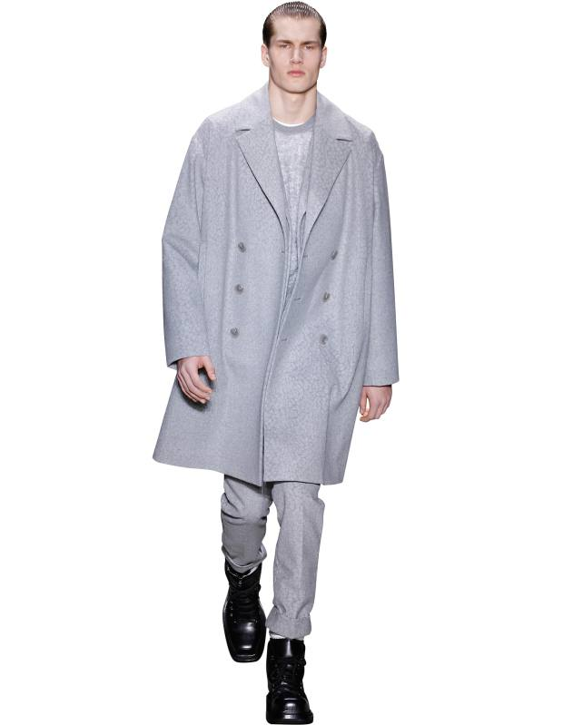 Calvin Klein wool coat, £980, matching trousers, £315, and mohair jumper, £485