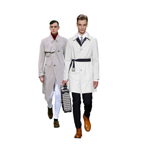 Left: beige trench coat, £1,195, by Alexander McQueen. Right: reversible mac, £825, by Dunhill.