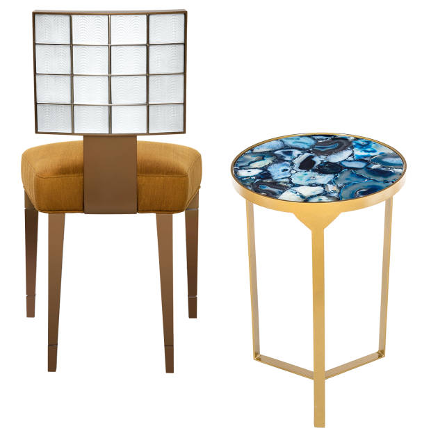 From left: Pierre-Yves Rochon for Lalique lacquered-wood, silk and crystal Coutard chair, £8,900. Andrew Martin agate and brass Ida side table, £265