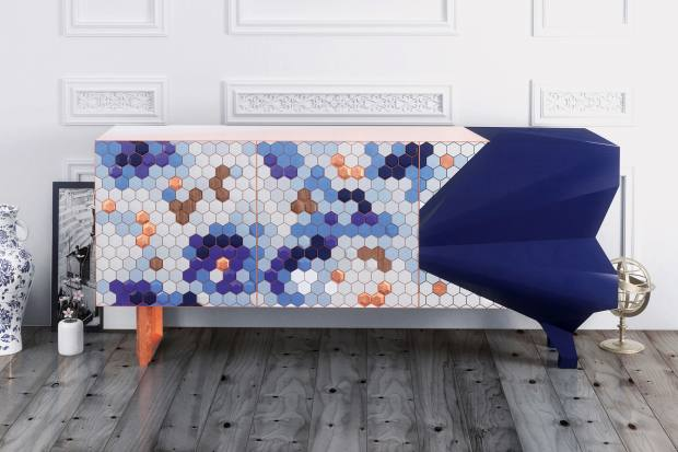 RoyalStranger lacquered wood, gold and copper leaf and stainless steel Honeycomb sideboard, from €27,700