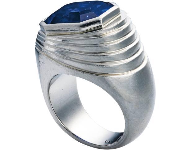 Raymond Templier c1925 octagonal, step-cut sapphire ring, $25,000-$35,000