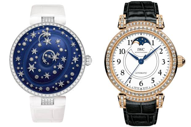 "From left: Chaumet Etoiles Etoiles, POA. IWC Da Vinci Automatic Moon Phase Edition ""150 Years"", £26,500"