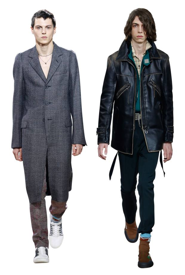 From left: Lanvin wool coat, £3,065, and wool trousers, £855. Lambskin jacket, £4,695, cotton shirt‑jacket, £715, cotton shirt, £620, and wooltrousers, £570