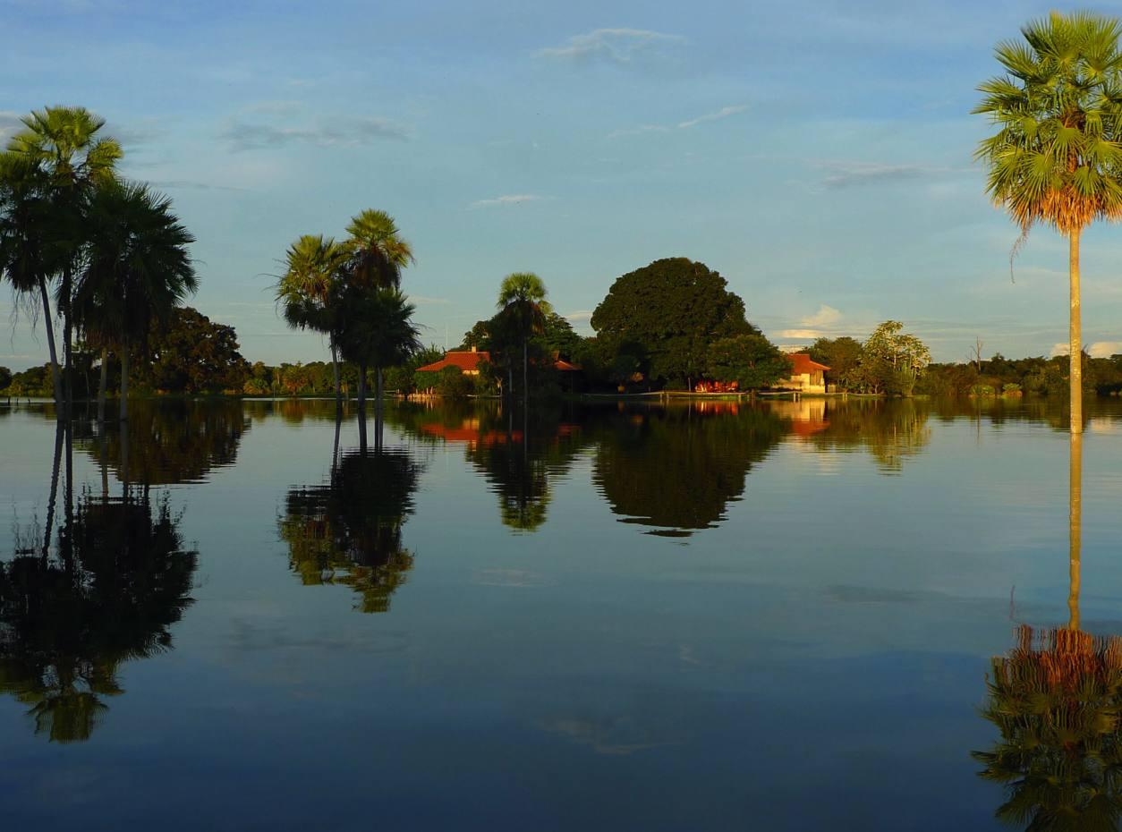 Fazenda Barranco Alto during the period of high floods in the Pantanal.