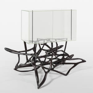 Lukas Wegwerth glass, willow, shellac and brass Blankenau cabinet, price on request