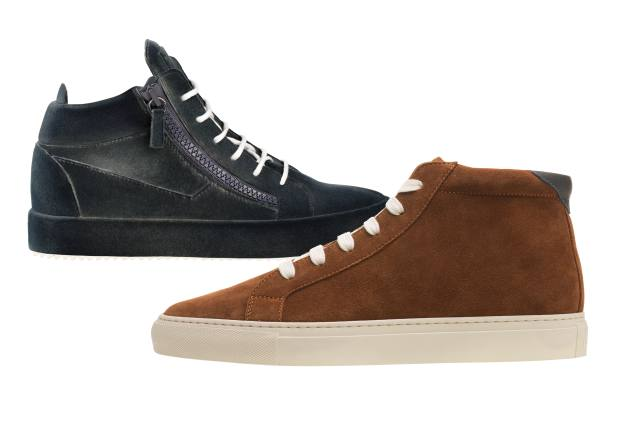 From left: Giuseppe Zanotti suede/leather Unfinished sneakers, £715. Brunello Cucinelli suede sneakers, £610