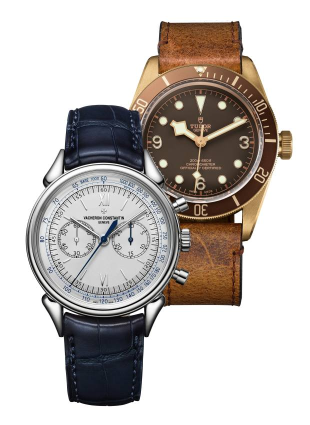 From left: Vacheron Constantin platinum Historiques Cornes de Vache 1955 on alligator strap, £64,800. Tudor bronze Heritage Black Bay on aged-leather strap,  £2,860