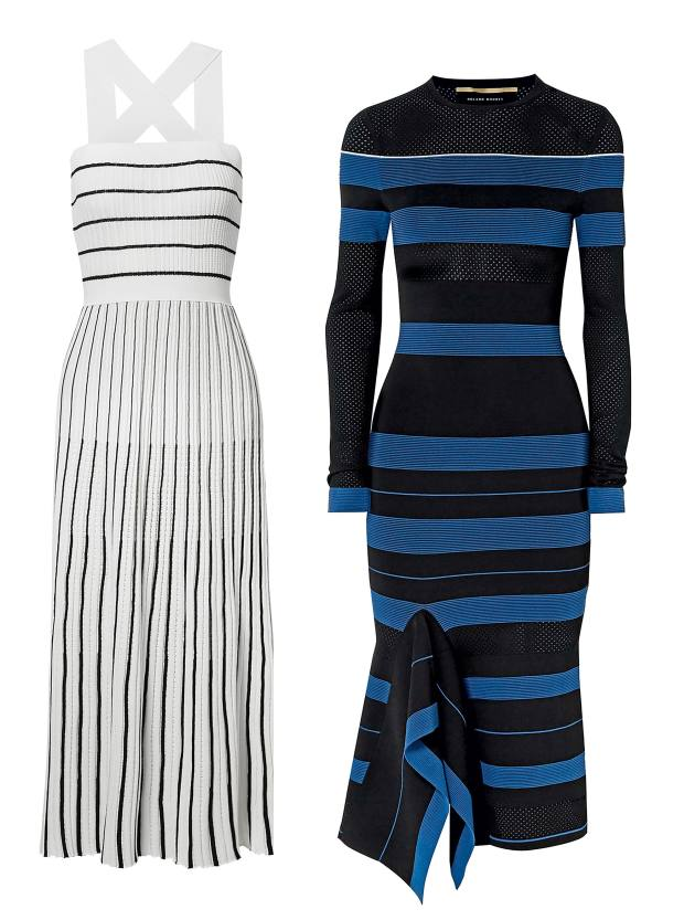 From left: Sonia Rykiel cotton-mix knit dress, £985. Roland Mouret viscose-mix pointelle stitch dress, £995