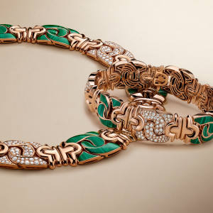 Rose-gold, diamond and malachite Parentesi bracelet and necklace, price on request