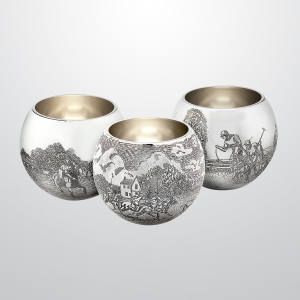 Theo Fennell engraved silver shot beakers, £2,350 each