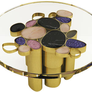 Muranti brass, glass, gemstone and resin Pearl table, €62,401