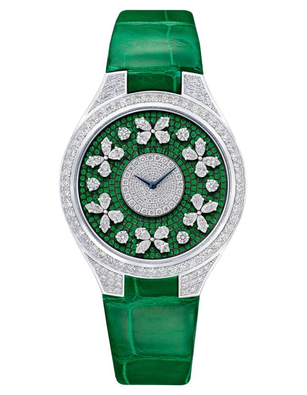 Graff white gold, diamond and emerald Disco Butterfly on crocodile strap, price on request