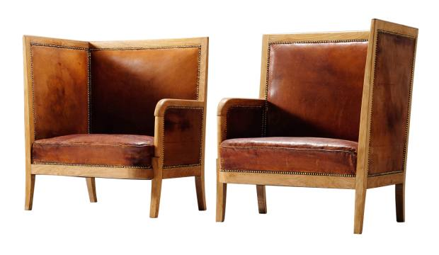 1940s oakand leather Scandinavian lounge chair, £22,500 for a pair,from Morentz