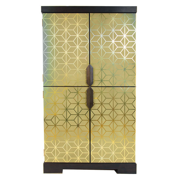 Rupert Bevan brass and walnut Geometric Etched cocktail cabinet, from £28,800