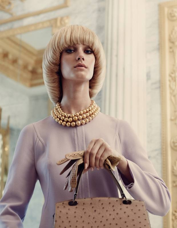 Giorgio Armani wool jacket, £1,955. Graff Diamonds three-row golden-pearl necklace with diamond clasp, price on request. Paula Rowan lambskin Beth Buxton gloves, £95. Asprey ostrich Belle bag, £9,000