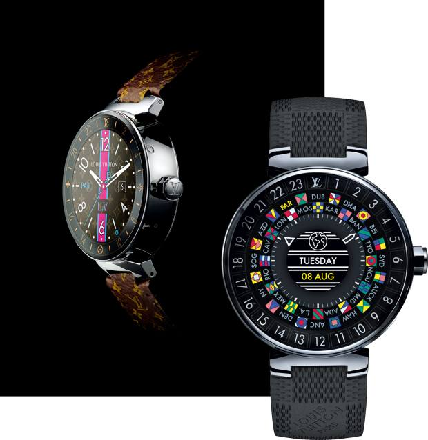 Louis Vuitton stainless-steel Tambour Horizon smartwatches on a leather and a rubber strap, £2,140 and £2,600