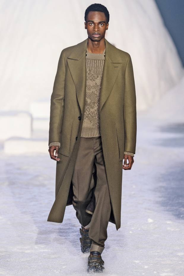 Ermenegildo Zegna Couture wool/cashmere coat, £3,650, cashmere jumper, £1,720, and wool-gabardine trousers, £860