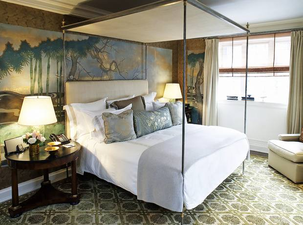 The bedroom of the Penthouse Suite at the reinvented Lowell, Manhattan