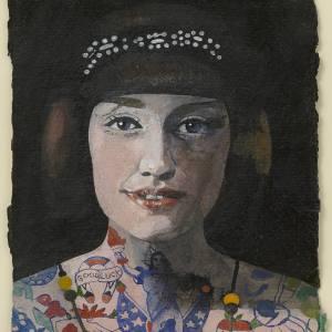 Peter Blake, Tattooed Woman 1, 2015, watercolour, 15 x 10.3 cm
